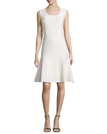 St. John Collection Mili Flared Scoop-Neck Dress, Alabaster