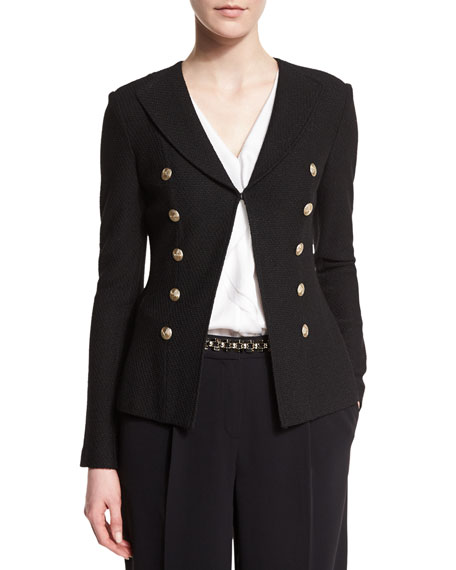 St. John Collection Boucle Faux Double-Breasted Jacket, Caviar