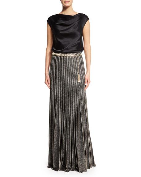 Kiklos Shimmery A-Line Ball Skirt, Caviar/Gold