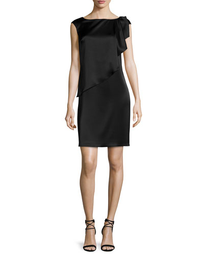 Liquid Satin Cap-Sleeve Draped Shift Dress, Caviar