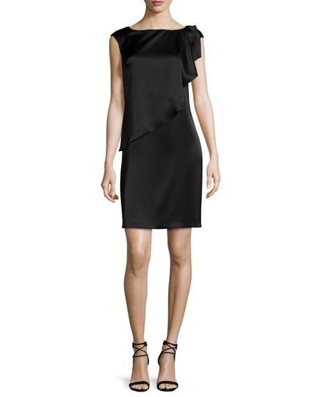 St. John Collection Liquid Satin Cap-Sleeve Draped Shift Dress, Caviar