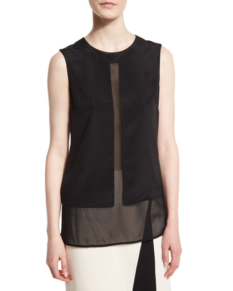 St. John Collection Silk Sheer-Panel Jewel-Neck Shell, Caviar
