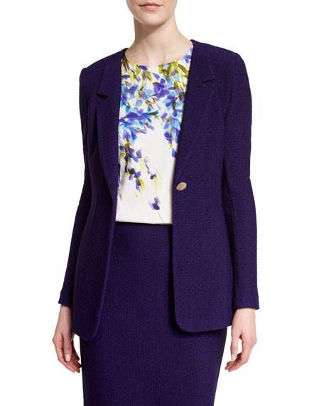 St. John Collection Windy Knit Rever-Collar Jacket, Viola