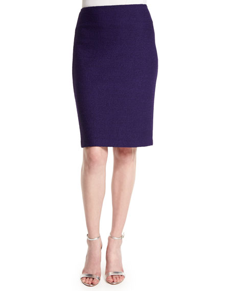 St. John Collection Windy Knit Pencil Skirt, Viola