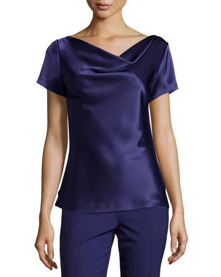 St. John Collection Liquid Satin Cowl-Neck Shell, Viola
