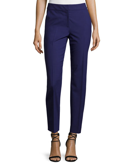 St. John Collection Emma Modern Stretch Tropical Wool Pants, Viola