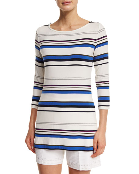 St. John Collection Gia Striped Jersey 3/4-Sleeve Tee,