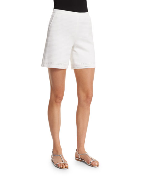 St. John Collection Welted Matte Crepe Knit Shorts,