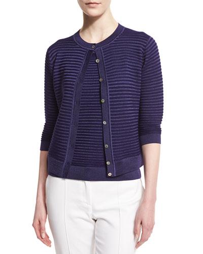 Purl Stripe 3/4-Sleeve Cardigan, Viola
