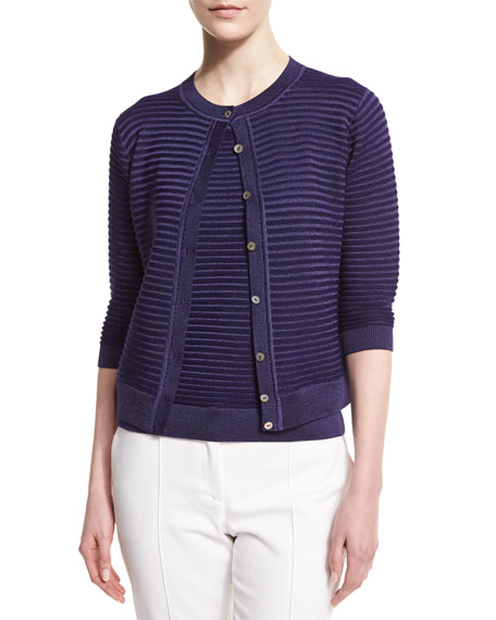 St. John Collection Purl Stripe 3/4-Sleeve Cardigan, Viola