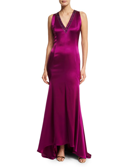 St. John Collection Liquid Satin Beaded V-Neck Gown,