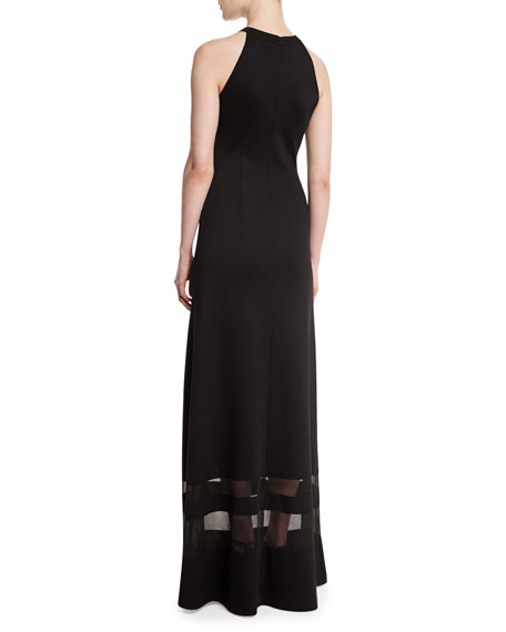 Shine Milano Knit Gown w/ Sheer Stripes, Caviar