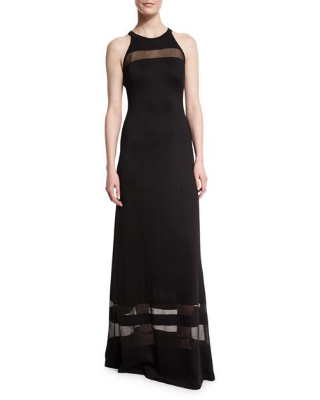 Shine Milano Knit Gown w/ Sheer Stripes, Caviar