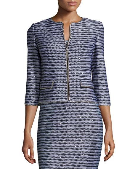 St. John Collection San Pietro Chain-Trim 3/4-Sleeve Jacket, Caviar/Multi
