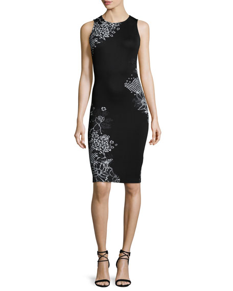 St. John Collection Placed Wildflower Jacquard Sheath Dress, Caviar/Bianco