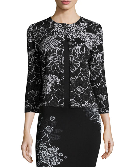St. John Collection Placed Wildflower Jacquard Sheath Dress