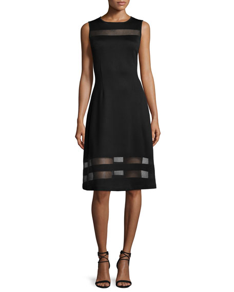 St. John Collection Sheer-Stripe Milano Knit Flared Dress, Caviar