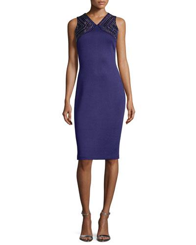 Beaded Milano Knit Sheath Dress, Viola