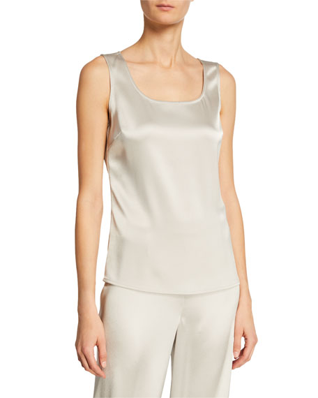 Liquid Satin Scoop-Neck Tank, Platinum