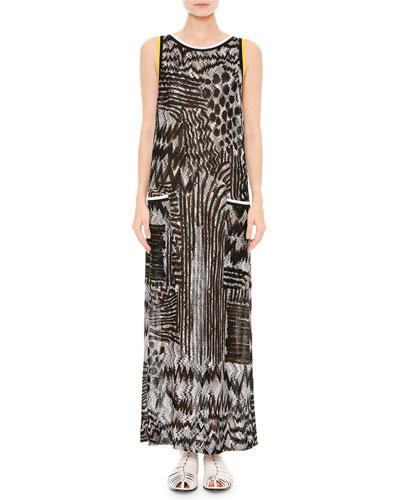 Animalier Sleeveless Round-Neck Maxi Dress, Black/White/Brown