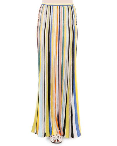 Striped Slim-Fit Maxi Skirt, Multi Colors