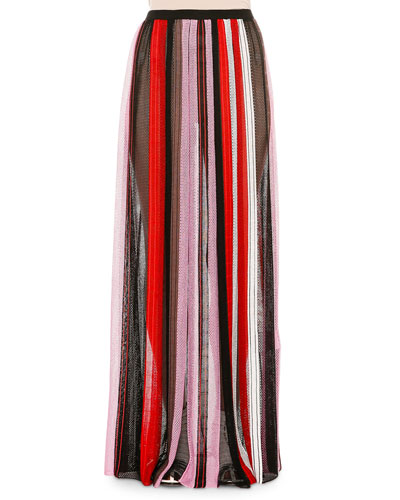 Pleated Striped Maxi Skirt, Pink/Red/Black/White