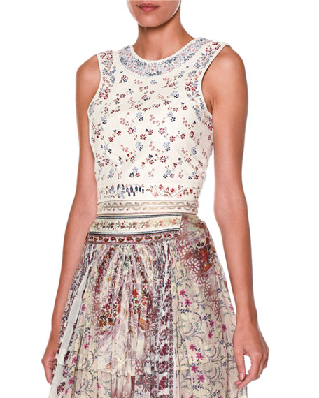 Etro Embroidered-Leather Lace-Up Top, White/Multi