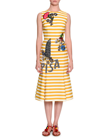 Dolce & Gabbana Pisa Sleeveless Striped Dress W/Appliques,