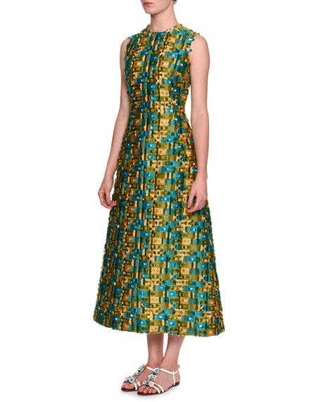 Dolce & Gabbana Sleeveless Raw-Edge Midi Dress, Gold/Blue/Green