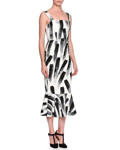 Sleeveless Paintbrush-Print Midi Dress, White/Black