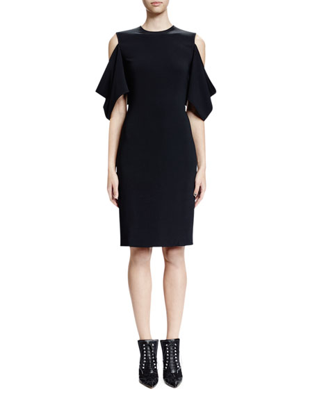 Givenchy Cold-Shoulder Half-Sleeve Sheath Dress, Black