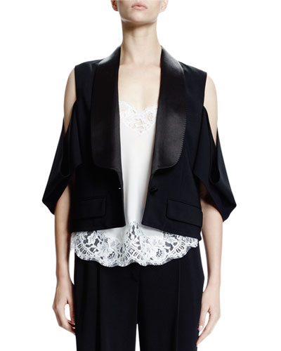 Cold-Shoulder One-Button Jacket, Black