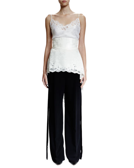 Wide-Leg Trousers W/Flyaway Tuxedo Stripe, Black