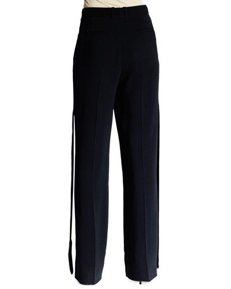 Wide-Leg Trousers W/Flyaway Tuxedo Stripe, Black