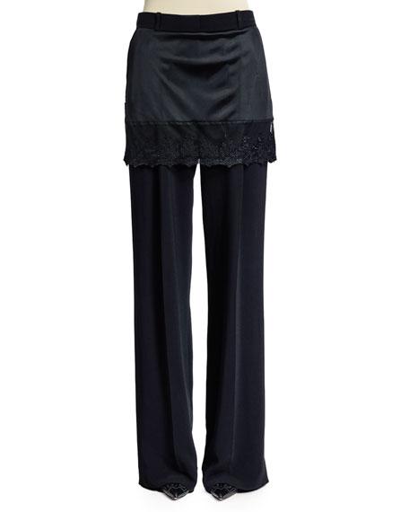 Givenchy Lace-Trim Skirt Pants, Black