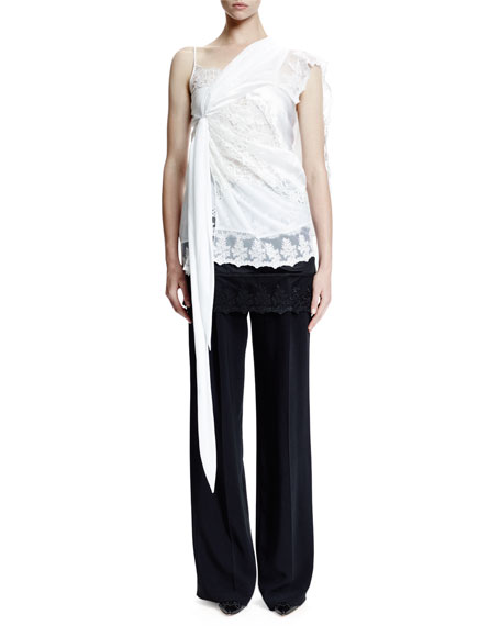 Givenchy Lace-Trim Overlayer, White