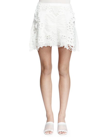 Chloe Butterfly Lace Mini Skirt, Milk