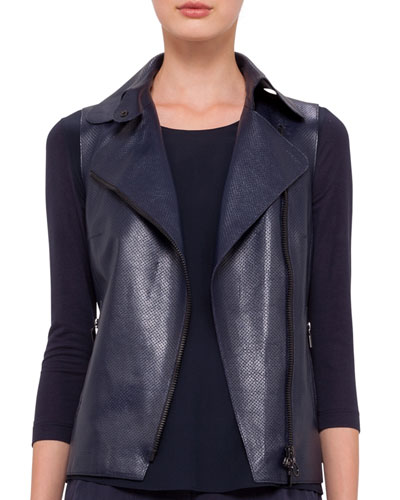 Napa Leather Moto Vest, Navy