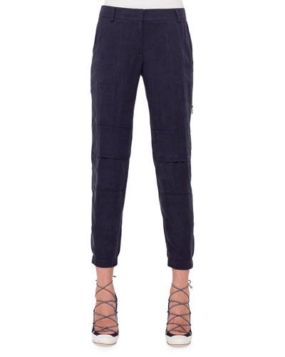 Florette Slim-Leg Cargo Pants, Navy
