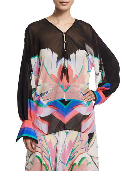 Roberto Cavalli Long-Sleeve V-Neck Printed Blouse,