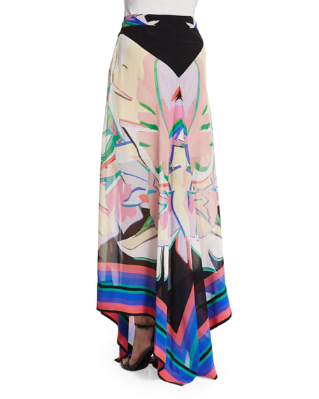 Printed A-Line Maxi Skirt, Black/Pink/Bright Coral/Blue