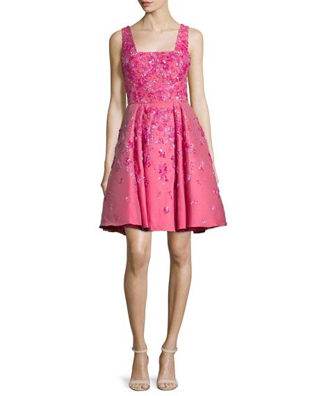 Zuhair Murad Sleeveless Floral-Embellished Dress, Rose Red