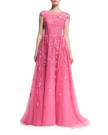 Zuhair Murad Cap-Sleeve Embellished Ball Gown, Shocking Pink