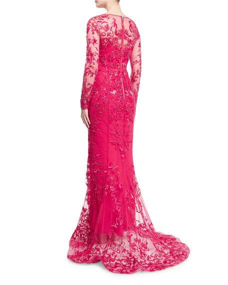 Long-Sleeve Floral-Embroidered Gown, Rose Red
