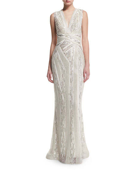 Sleeveless V-Neck Embellished Gown, White