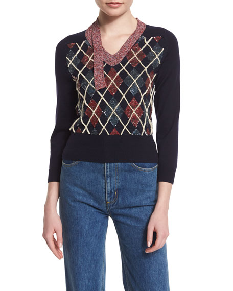 Marc Jacobs 3/4-Sleeve Embellished Argyle Sweater, Navy