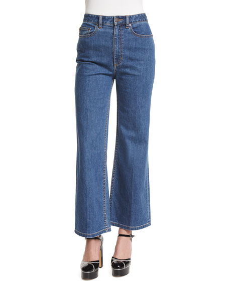 Marc Jacobs High-Rise Wide-Leg Cropped Jeans, Bright Blue