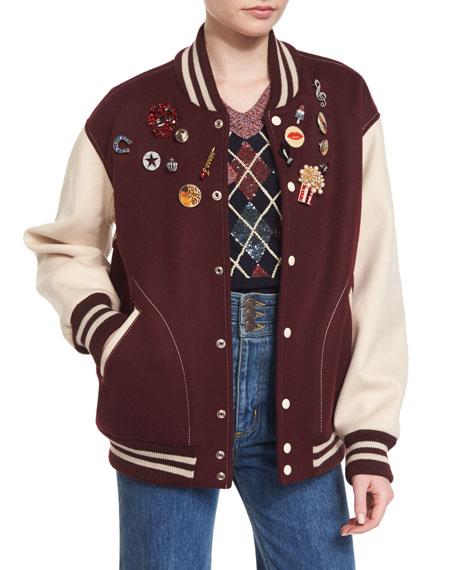 Embellished Oversized Varsity Jacket, Bordeaux