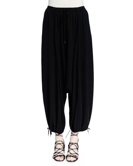 Chloe Woven Silk Harem Pants, Black