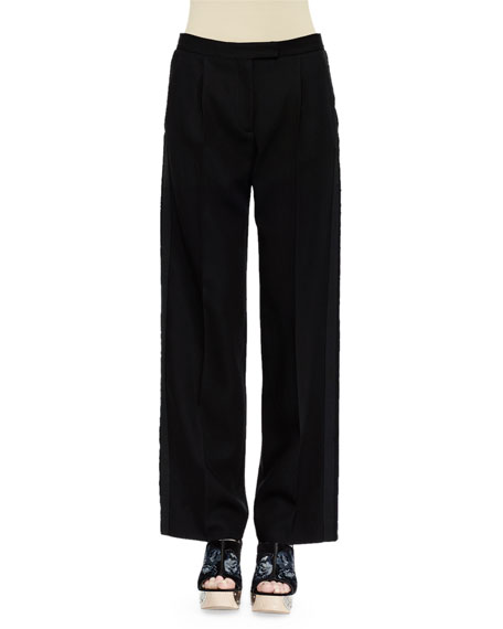 Alexander McQueen Flat-Front Tuxedo Trousers, Black